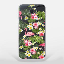 Capinha para celular Flamingos e Flores