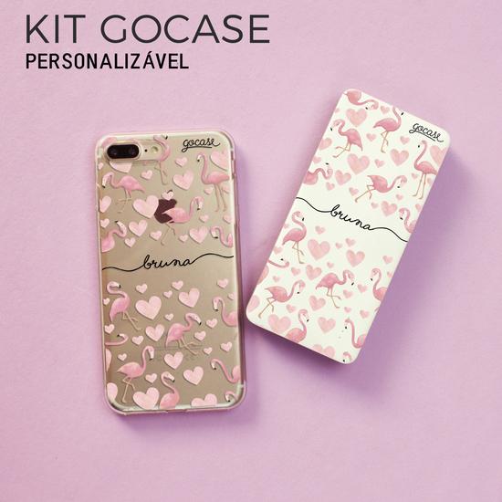 Kit Gocase Flamingos Manuscrita (Capinha + Carregador Portátil de 5000mAh)