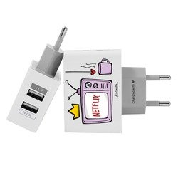 Customized Dual Usb Wall Charger for iPhone and Android - Chill