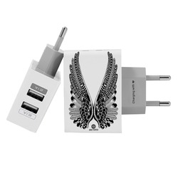 Customized Dual Usb Wall Charger for iPhone and Android - Wings