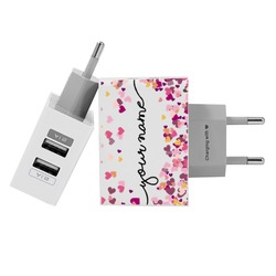 Customized Dual Usb Wall Charger for iPhone and Android - Hearts Handwritten