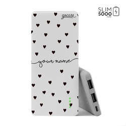Power Bank Slim Portable Charger (5000mAh) - Black Pattern Black Hearts - Handwritten