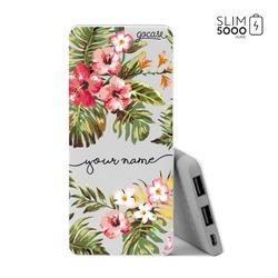 Power Bank Slim Portable Charger (5000mAh) - Floral Handwritten