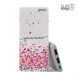 Power Bank Slim Portable Charger (5000mAh) - Hearts Handwritten