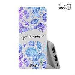 Power Bank Slim Portable Charger (5000mAh) - Purple Handwritten