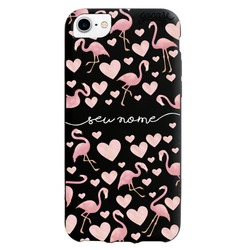Capinha para celular Color Black Flamingos Manuscrita
