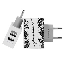Customized Dual Usb Wall Charger for iPhone and Android - Black Lace Handwritten