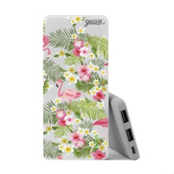 Power Bank Slim Portable Charger (5000mAh) - Flamingos And Flowers