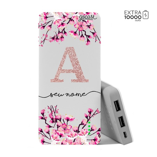 Carregador Portátil Power Bank (10000mAh) - Flor de Cerejeira Glitter