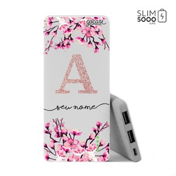 Carregador Portátil Power Bank Slim (5000mAh) - Flor de Cerejeira Glitter
