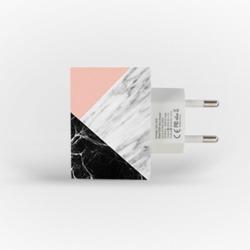 Carregador Personalizado iPhone/Android Duplo USB de Parede Gocase - Mármore Tricolor