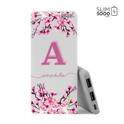Power Bank Slim Portable Charger (5000mAh) - Cherry Blossoms Initial Pink