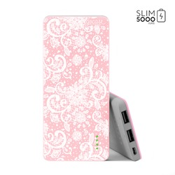 Power Bank Slim Portable Charger (5000mAh) Pink - White Lace