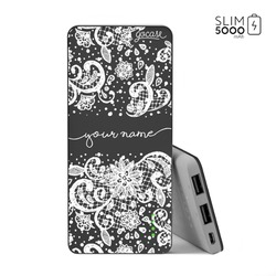 Power Bank Slim Portable Charger (5000mAh) Black - Lace White Handwritten