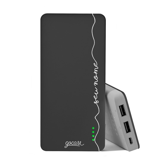 Carregador Portátil Power Bank (10000mAh) Preto - Manuscrita Vertical