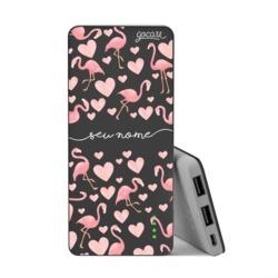 Carregador Portátil Power Bank Slim (5000mAh) Preto - Flamingos Manuscrito