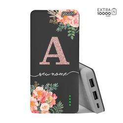 Carregador Portátil Power Bank (10000mAh) Preto - Floral Glitter