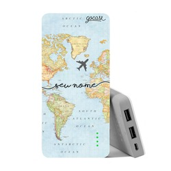 Carregador Portátil Power Bank (10000mAh) - Mapa Mundi Manuscrito