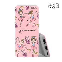 Power Bank Slim Portable Charger (5000mAh) Pink - Little Ballerinas Handwritten