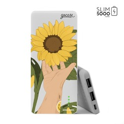 Carregador Portátil Power Bank Slim (5000mAh) - Flor de Girassol