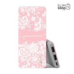 Power Bank Slim Portable Charger (5000mAh) Pink - Lace White Handwritten
