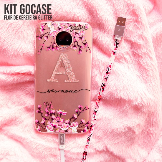 Kit Android Flor de Cerejeira Glitter (Capinha + Cabo Micro USB)