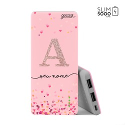 Carregador Portátil Power Bank Slim (5000mAh) Rosa - Corações Flutuantes Glitter