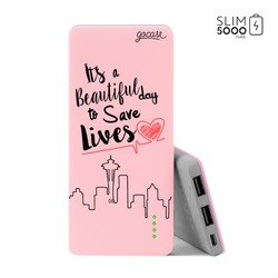 Power Bank Slim Portable Charger (5000mAh) Pink - Pink Save Lives