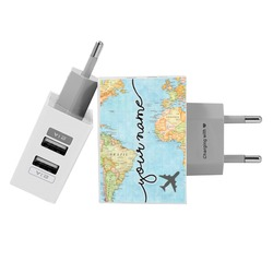 Customized Dual Usb Wall Charger for iPhone and Android - World Map