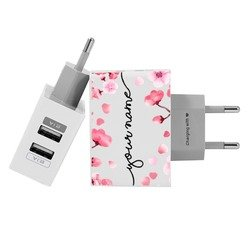 Customized Dual Usb Wall Charger for iPhone and Android - Cherry Petals