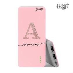 Carregador Portátil Power Bank Slim (5000mAh) Rosa - Iniciais Glitter Rosê