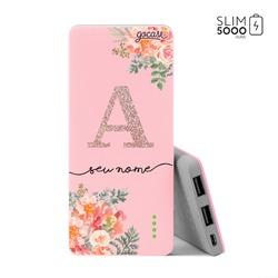 Carregador Portátil Power Bank Slim (5000mAh) Rosa - Floral Glitter
