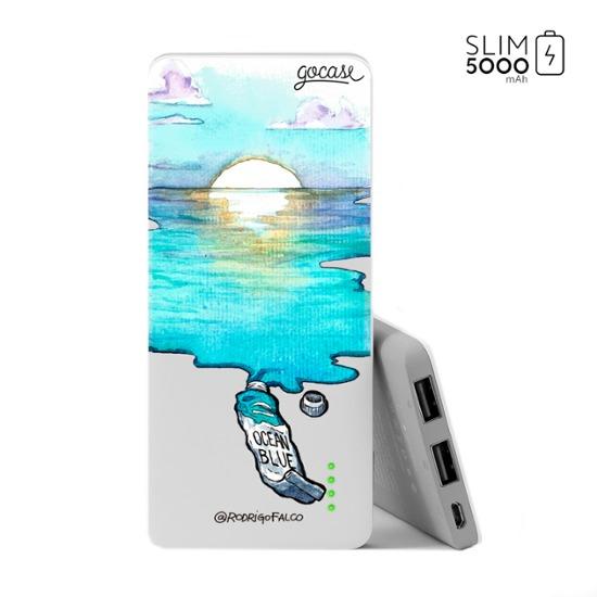 Power Bank Slim Portable Charger (5000mAh) - Blue Aquarelle