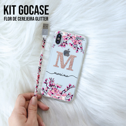 Kit Flor de Cerejeira Glitter (Cabo iPhone Lightning + Capinha)