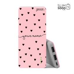 Power Bank Slim Portable Charger (5000mAh) Pink - Pattern Black Hearts