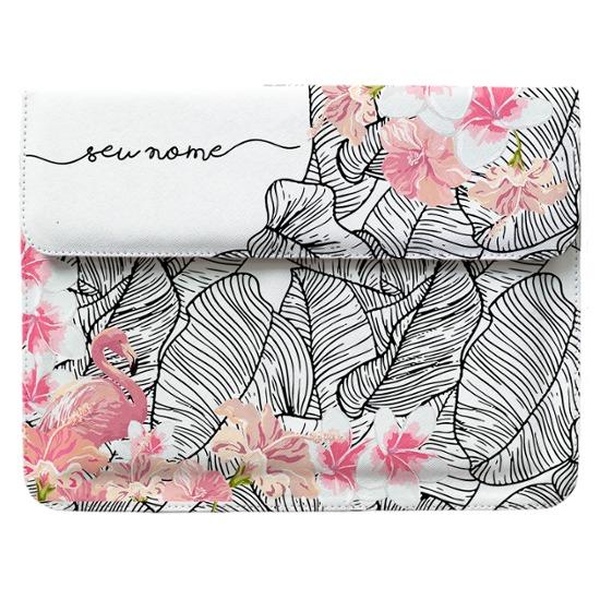 Case Clutch Notebook - Flamingo e Flores Manuscrita