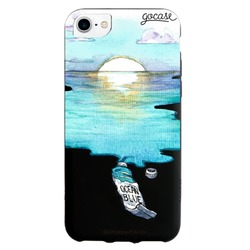 Cover Black Case Blue Aquarelle