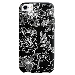 Black Case  Floral White Phone Case