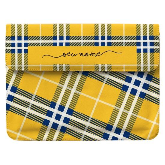 Case Clutch Notebook - Xadrez Amarelo Manuscrita