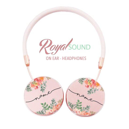 Royal Sound Headphones - Floral Pink Handwritten