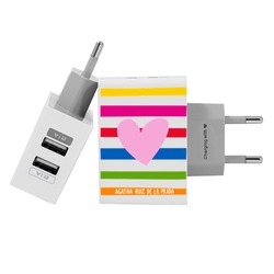 Customized Dual Usb Wall Charger for iPhone and Android - Happy Love