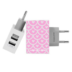 Customized Dual Usb Wall Charger for iPhone and Android - Love Pattern