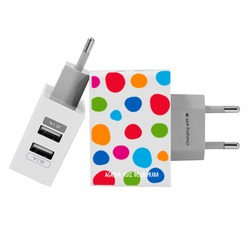 Customized Dual Usb Wall Charger for iPhone and Android - Happy Bubbles