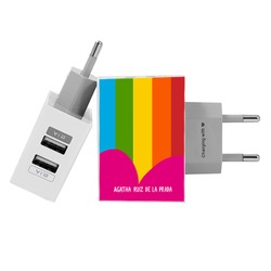 Customized Dual Usb Wall Charger for iPhone and Android - Colorful Stripes