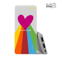 Power Bank Slim Portable Charger (5000mAh) - Rainbow Heart