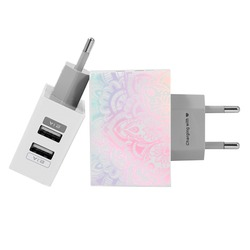 Customized Dual Usb Wall Charger for iPhone and Android - Iridescent Mandala