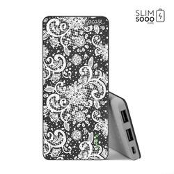 Power Bank Slim Portable Charger (5000mAh) Black - White Lace