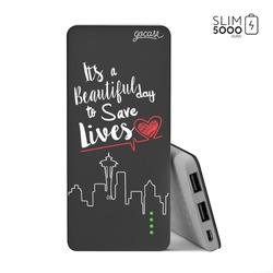 Power Bank Slim Portable Charger (5000mAh) Black - Save Lives