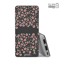 Power Bank Slim Portable Charger (5000mAh) Black - Cherry Flowers Handwritten