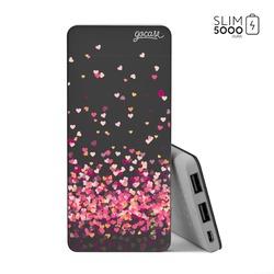 Power Bank Slim Portable Charger (5000mAh) Black - Hearts